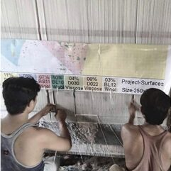 Indian weavers working from a simple cartoon to weave a contemporary design rug Image NC Larsen